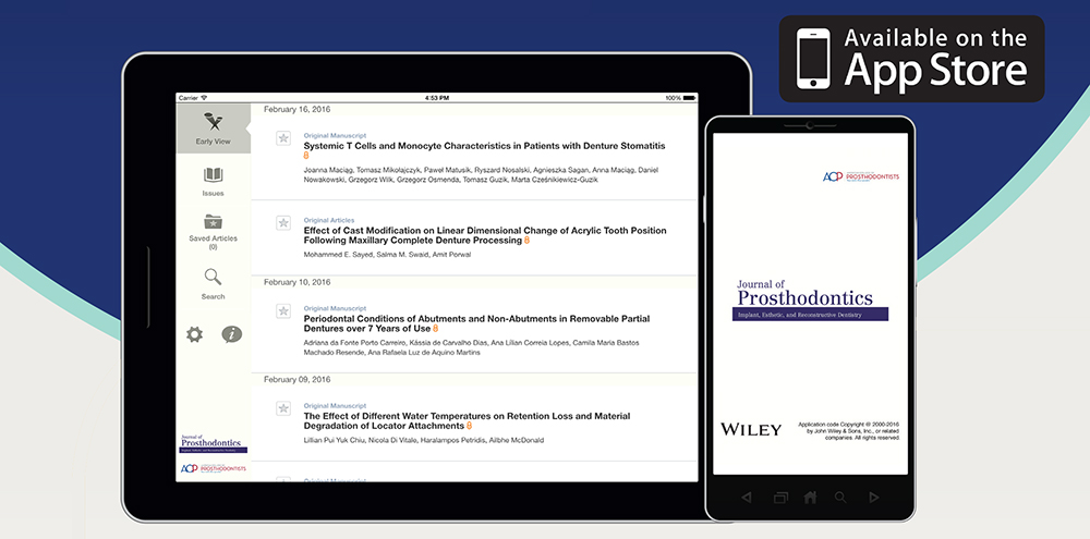 New! Journal of Prosthodontics App for iPhone and iPad - News
