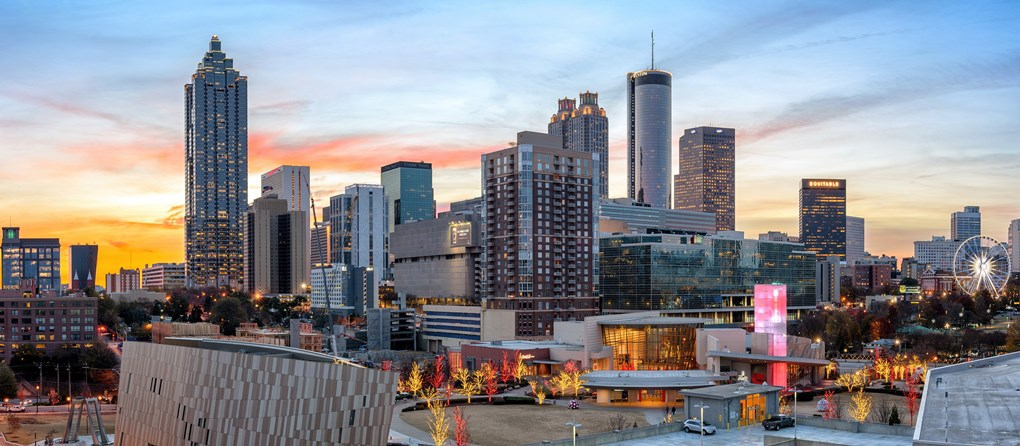 Atlanta-Downtown-Skyline-World-of-Coca-Cola-Holidays-Sunset